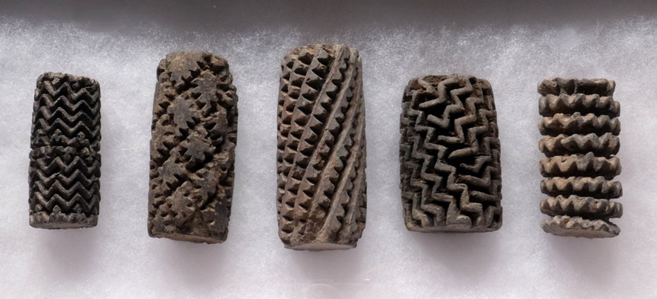 PC109 - MUSEUM CLASS  COLLECTION OF 5 ASSOCIATED LARGE INTACT PRE-COLUMBIAN OLMEC CERAMIC ROLLER STAMPS