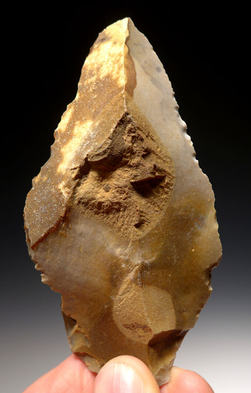 M317 - INVESTMENT-GRADE GIANT NEANDERTHAL MOUSTERIAN POINT SPEARHEAD WITH SPARKLING CRYSTALS