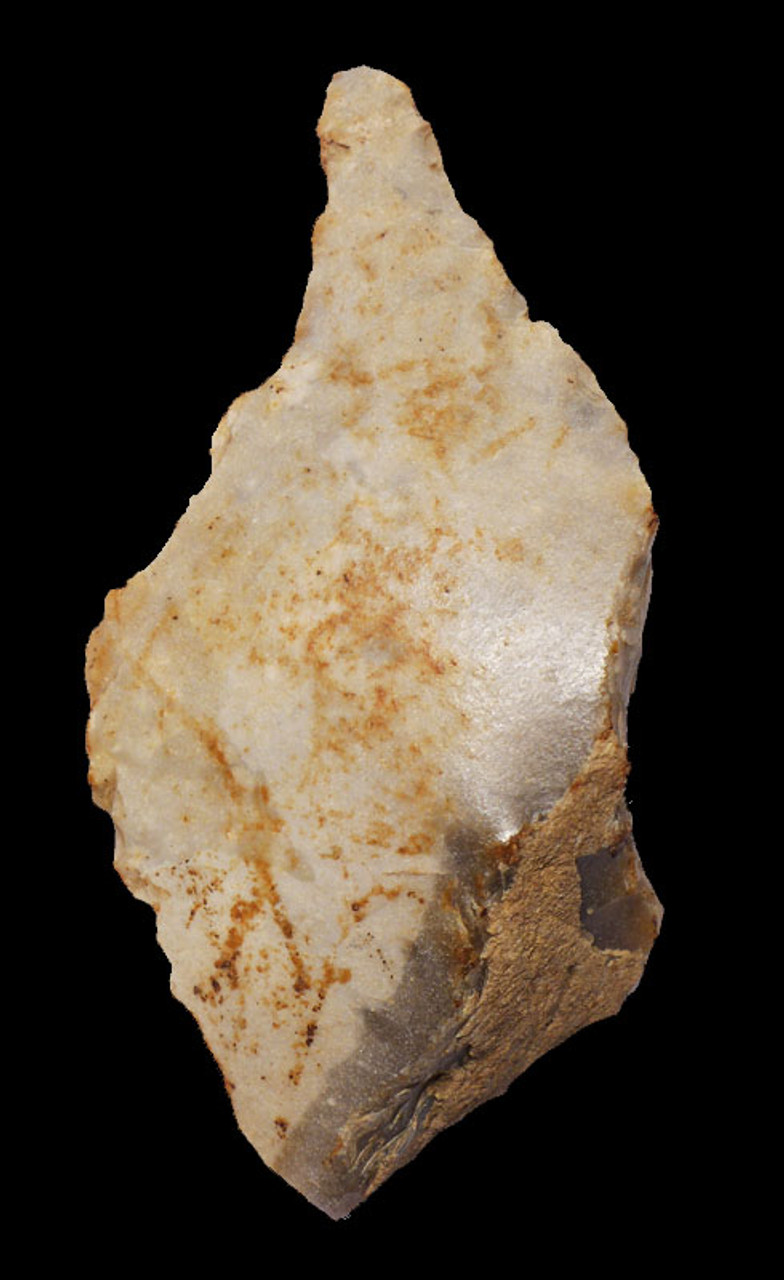 M318 - MOUSTERIAN PREHISTORIC NEANDERTHAL FLINT BORER FROM OPEN AIR SITE IN FRANCE
