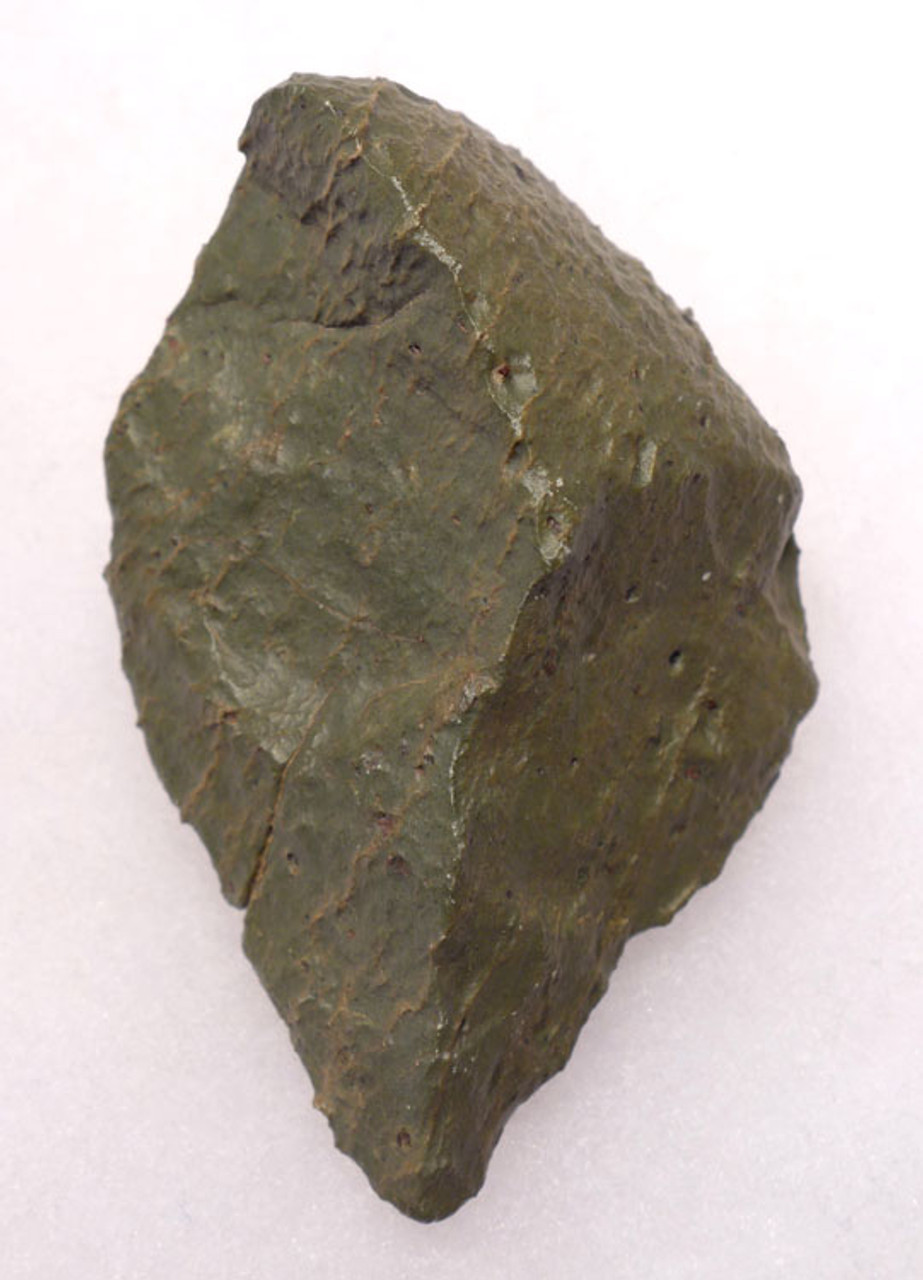 PB113 - LOWER PALEOLITHIC AFRICAN OLDOWAN PEBBLE PIERCER TOOL OF GREEN JASPER WITH INCREDIBLE WIND EROSION