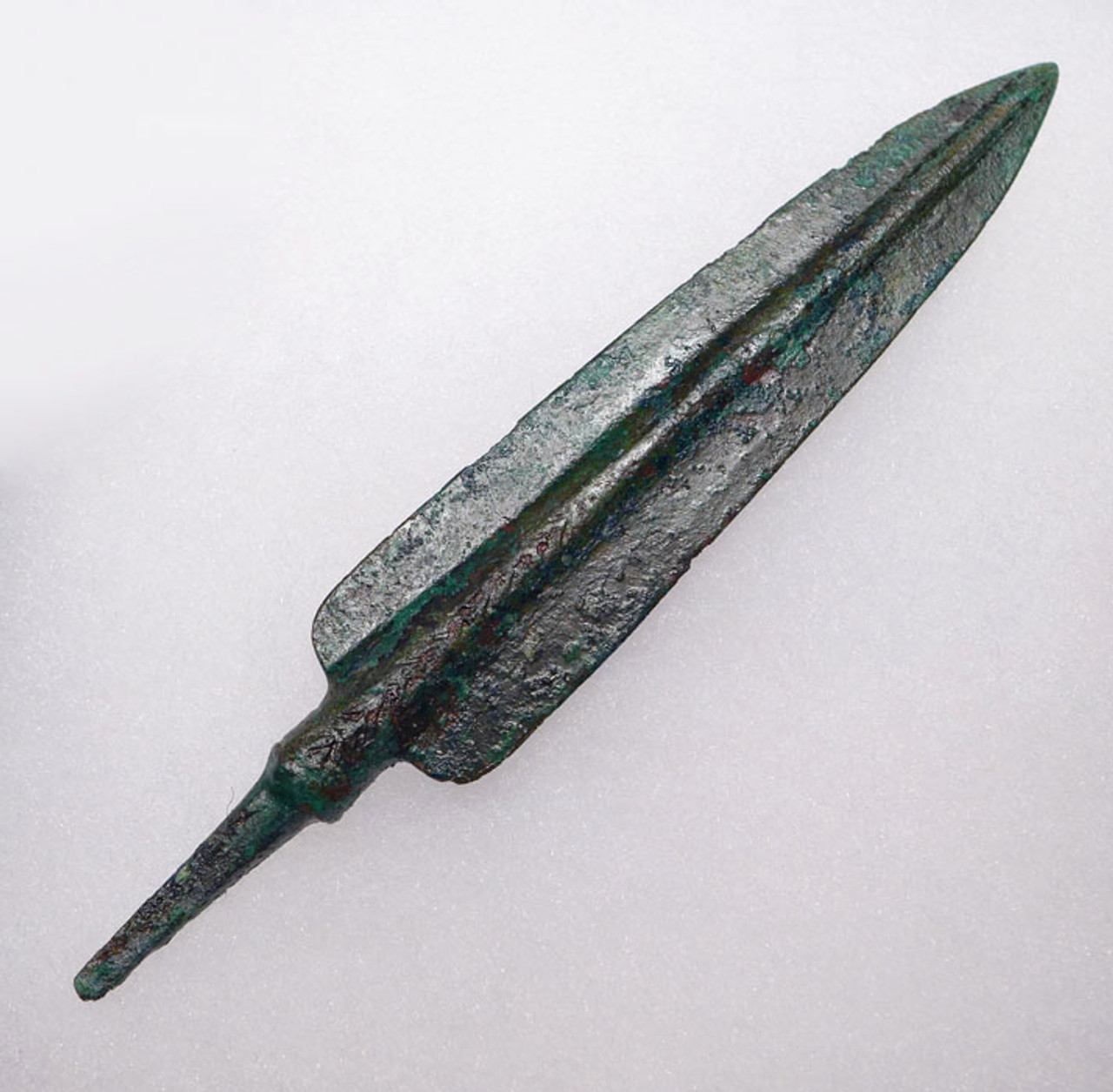 NEX003 - LARGE ANCIENT BRONZE LURISTAN TANGED ARROWHEAD WITH RARE INCISED DECORATION