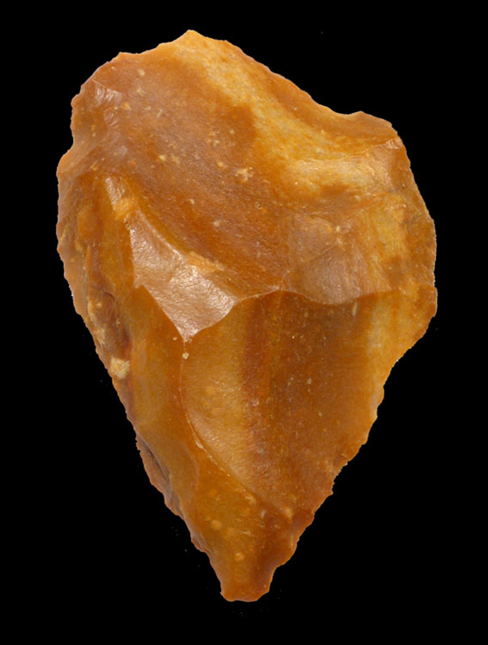 M327 - EXCEPTIONAL GOLDEN NEANDERTHAL MOUSTERIAN FLINT CORDIFORM HANDAXE FROM FRANCE