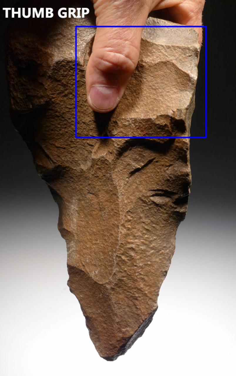 ACH206 - ENORMOUS MUSEUM GRADE MASTERPIECE AFRICAN ACHEULIAN HAND AXE MADE BY HOMO ERECTUS (ERGASTER)