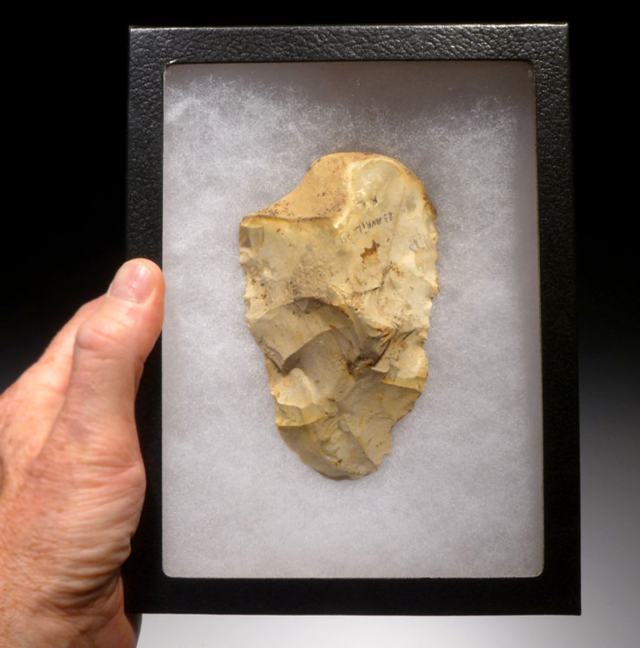 ACH208 - FRENCH ABBEVILLEAN ACHEULIAN FLINT HANDAXE WITH UNIQUE GRIP DESIGN FROM EUROPE'S FIRST HUMANS
