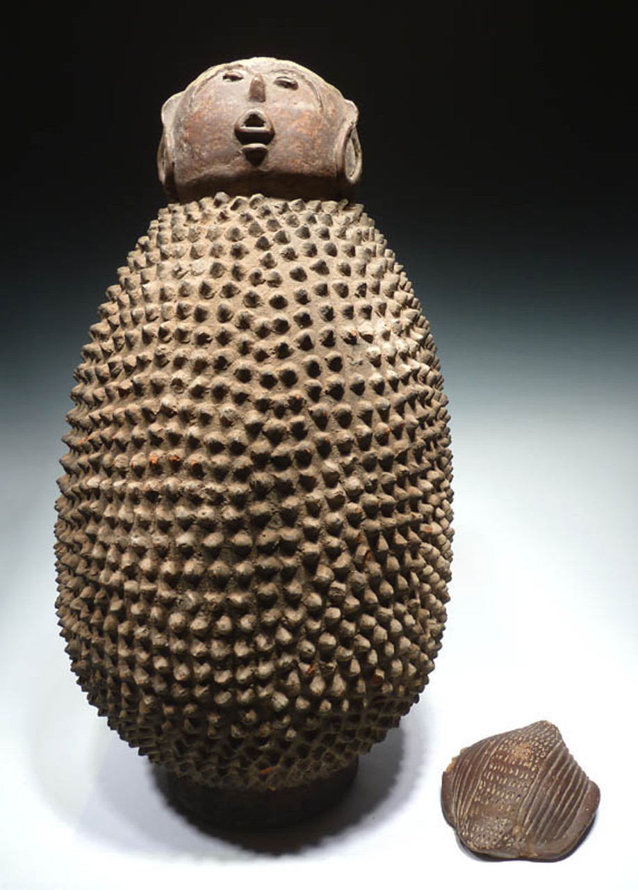 AF001 - RARE GIANT INTACT 30 INCH SACRED AFRICAN LOBI TRIBAL HUMAN SHRINE VESSEL