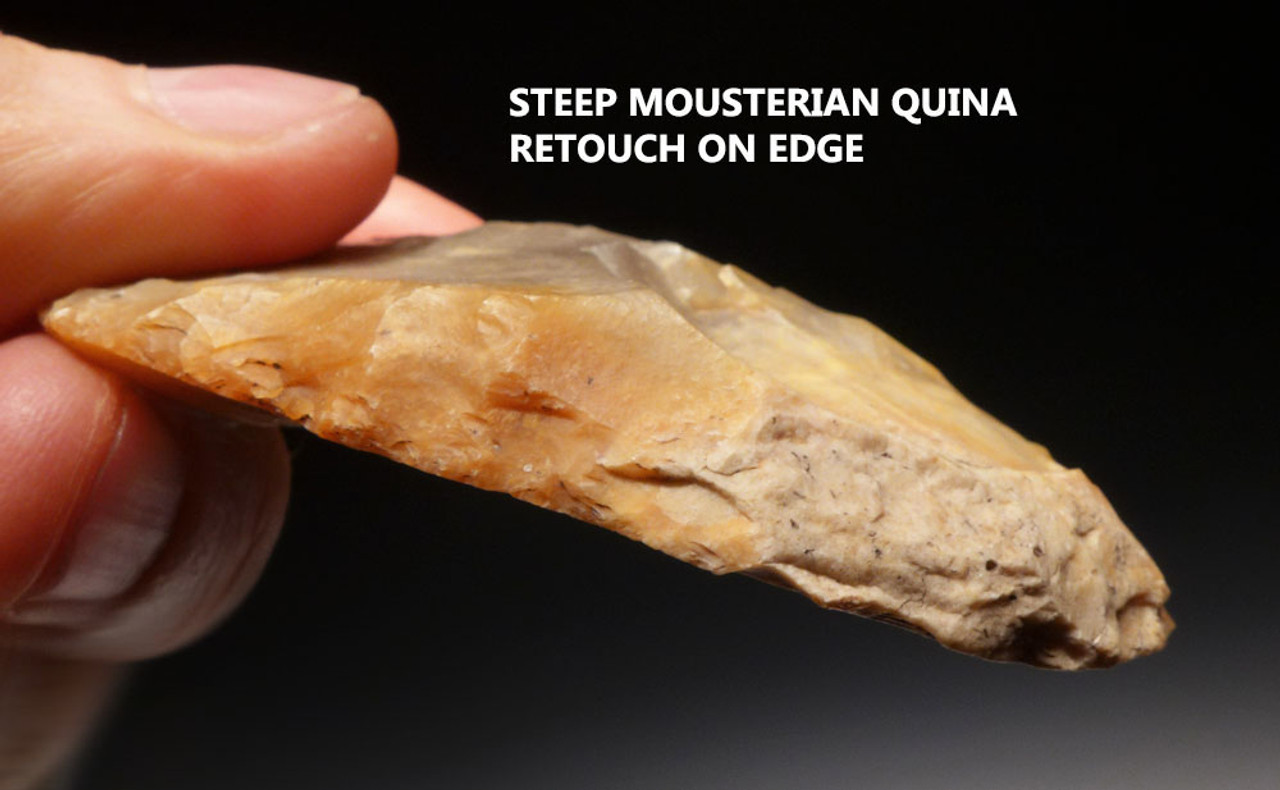 M352 - SUPERB COLORFUL MOUSTERIAN NEANDERTHAL OVATE SCRAPER FROM FRANCE WITH QUINA RETOUCH