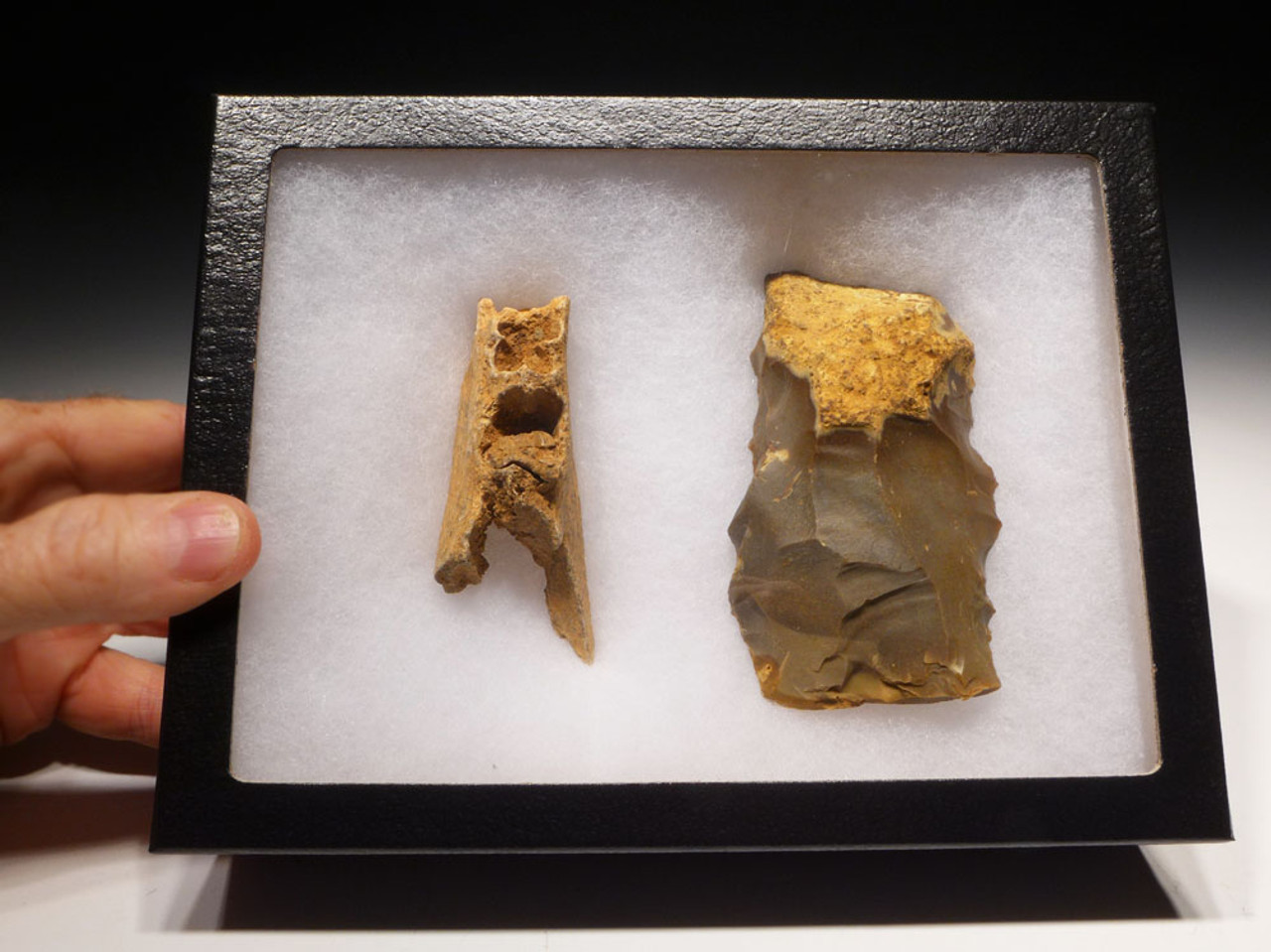 M348 - MASSIVE NEANDERTHAL MOUSTERIAN FLINT SIDE SCRAPER FOUND WITH FOSSIL BISON JAW FRAGMENT FROM A ROCK SHELTER IN FRANCE