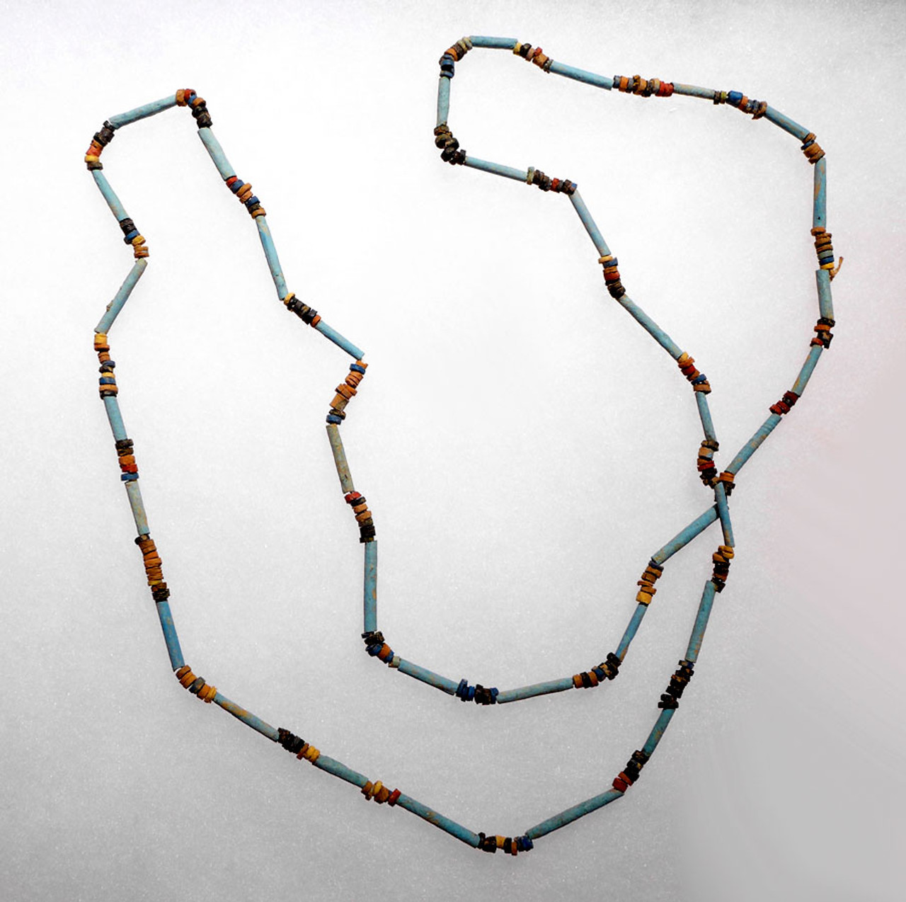 "EG002 - SUPERB 38"" WEARABLE AUTHENTIC ANCIENT EGYPTIAN ""MUMMY BEAD"" FAIENCE, STONE AND CLAY BEAD NECKLACE"