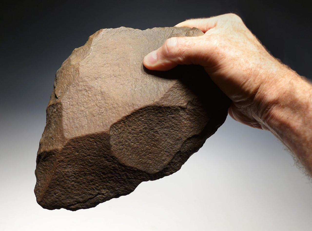 ACH227 - MASSIVE MUSEUM-GRADE ACHEULEAN HAND AXE MADE BY HOMO ERGASTER FOR LARGE GAME BUTCHERING FROM AFRICA
