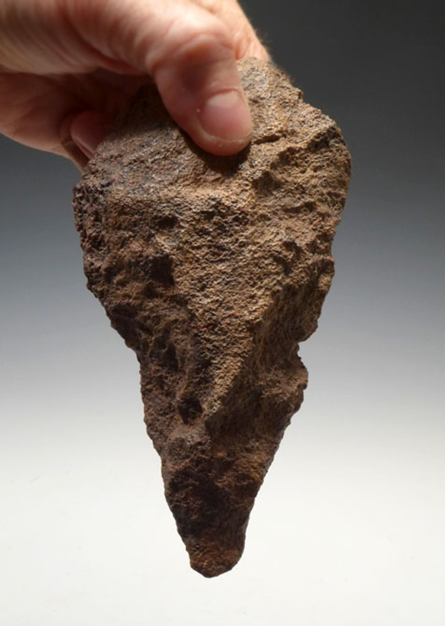 ACH180 - UNUSUAL ORANGE BASALT ACHEULIAN HANDAXE WITH INTACT TIP FROM NORTH AFRICA MADE BY HOMO ERECTUS (ERGASTER)