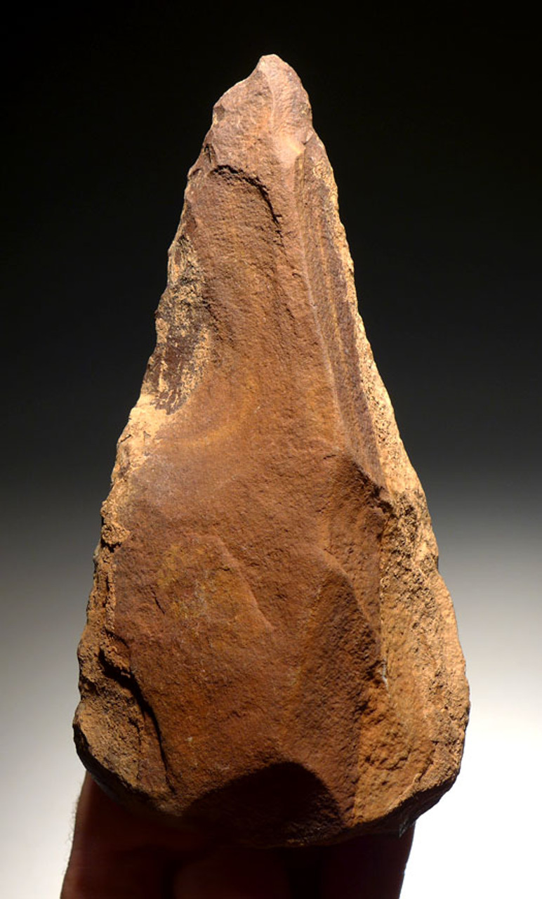 ACH228 - MUSEUM GRADE MASTERPIECE ACHEULIAN TRIHEDRAL PICK HAND AXE MADE BY HOMO ERECTUS (ERGASTER)