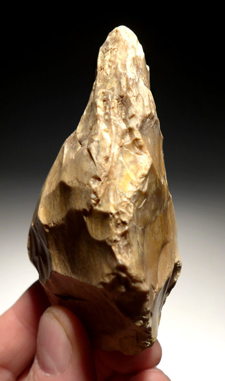 M362 - RARE MOUSTERIAN CLEAVER HAND AXE FROM AFRICA IN UNUSUAL PORPHYRIC FLINT