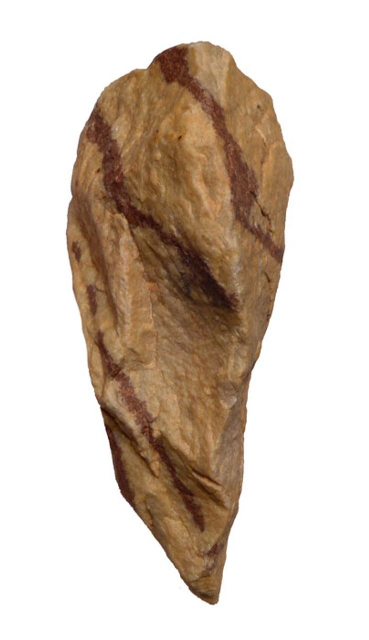 M349 - MOUSTERIAN QUARTZITE CORDATE HANDAXE IN STUNNING TIGER STRIPE QUARTZITE FROM THE NORTH SAHARA