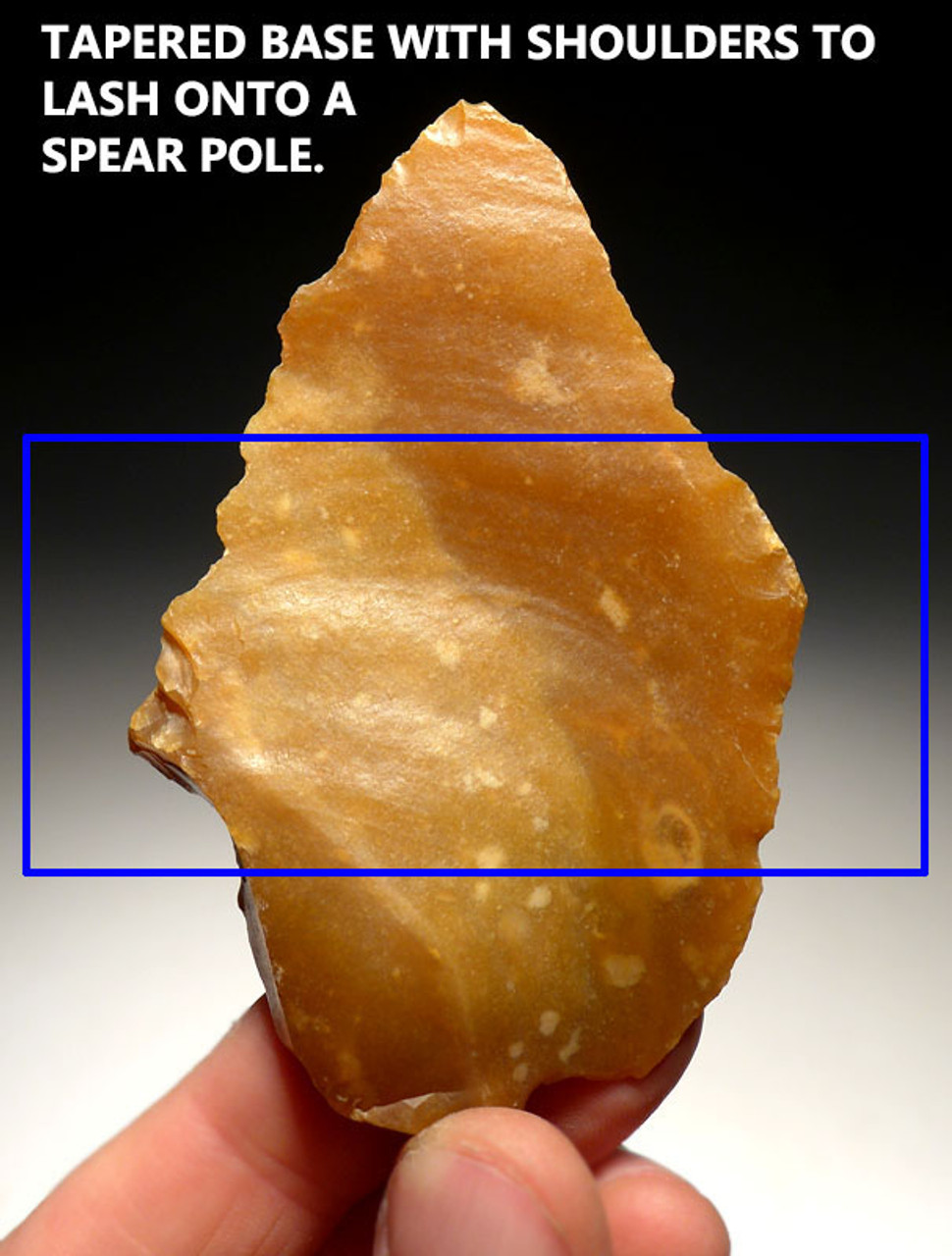 M359 - RARE FINEST LARGE NEANDERTHAL SHOULDERED MOUSTERIAN POINT SPEARHEAD IN GOLDEN FLINT
