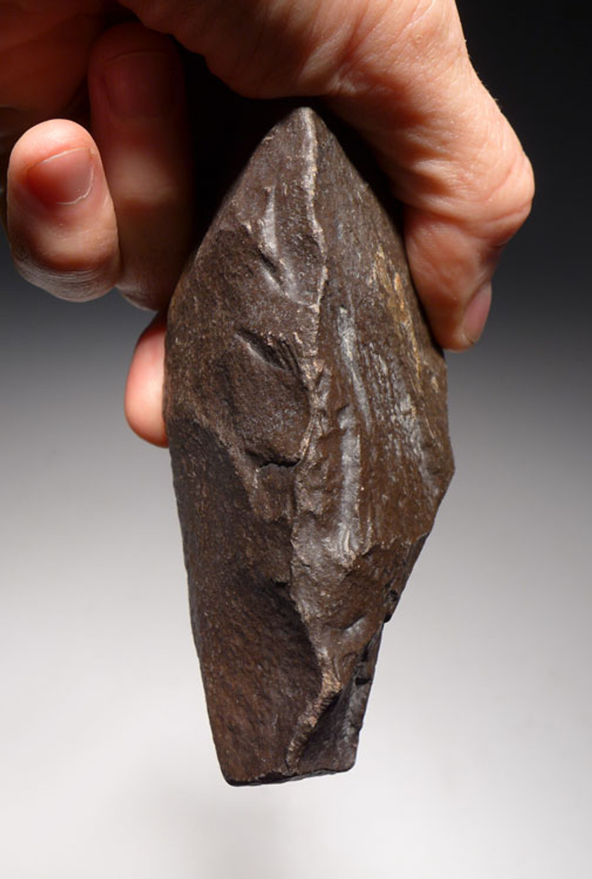 ACH233 - HOMO ERGASTER ERECTUS ACHEULIAN TRIHEDRAL PICK HAND AXE WITH EVIDENCE OF PREHISTORIC USE