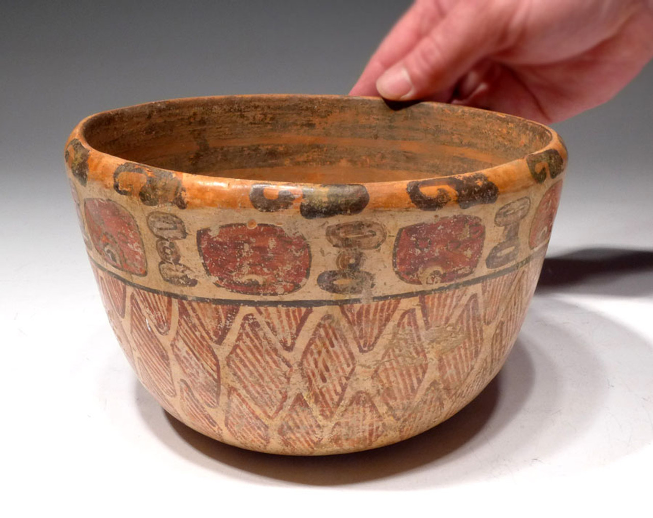 "PC135  - LARGE MAYAN BOWL WITH UNIQUELY DECORATED ""WOVEN"" BASKET-LIKE PATTERNS AND GLYPH SYMBOLS"