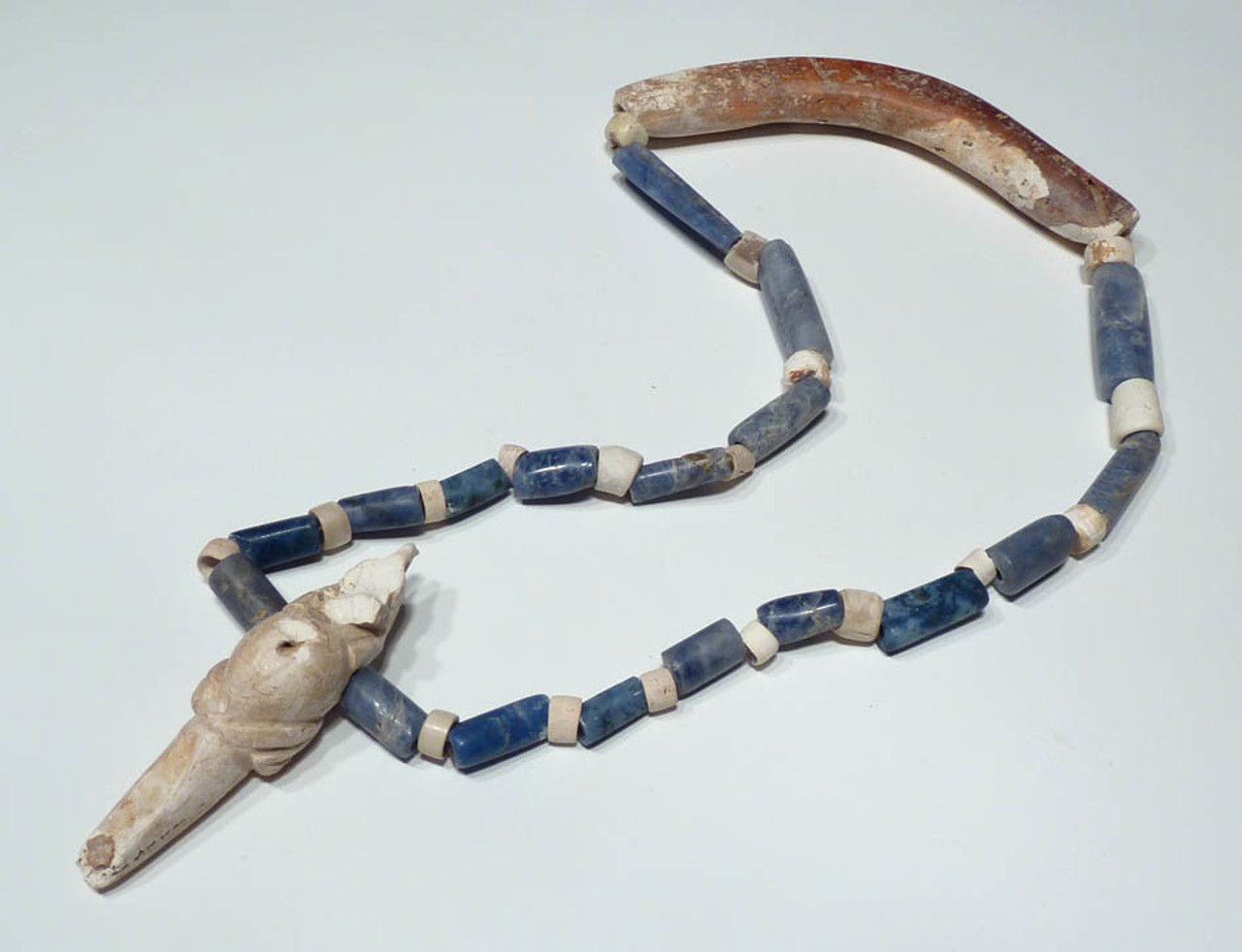 PC036 - ULTRA RARE MUSEUM GRADE PRE-COLUMBIAN STONE AND SHELL NECKLACE COMPLETE WITH ALL ORIGINAL COMPONENTS