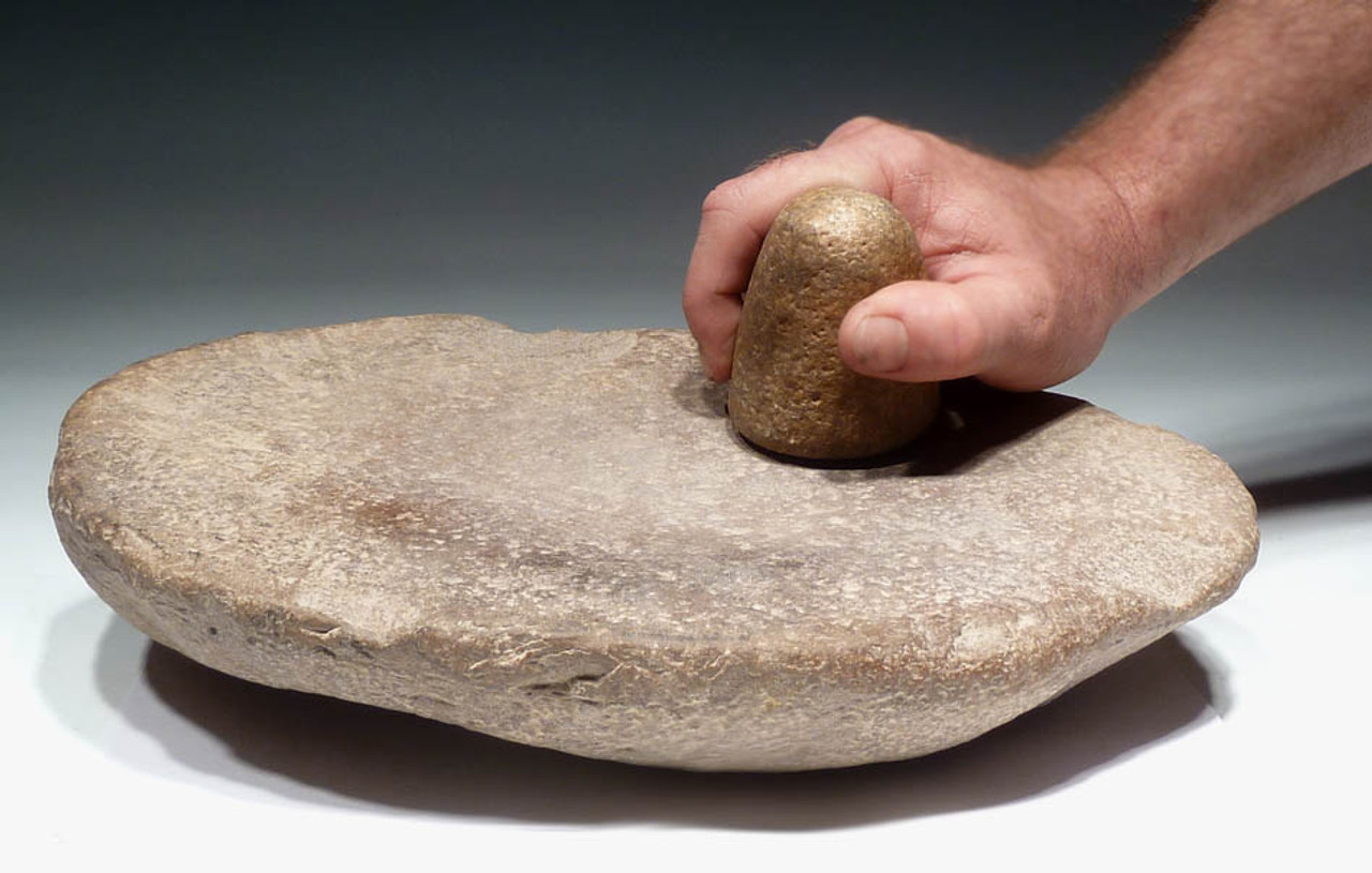 CAP182 - MUSEUM-CLASS CAPSIAN AFRICAN NEOLITHIC STONE GRINDING MILL WITH SUPERB BELL-SHAPED RUBBING STONE