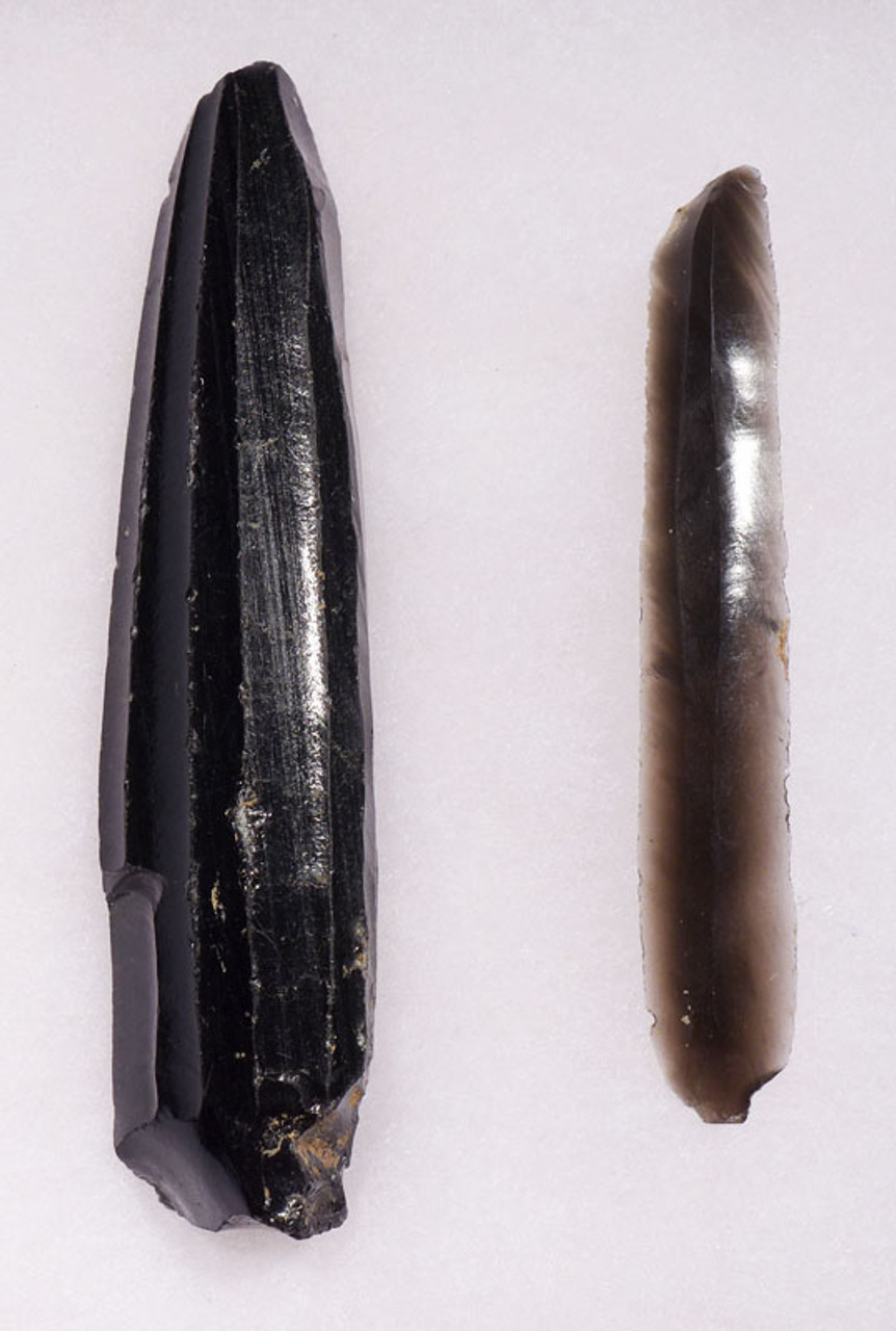 PC249 - SET OF AZTEC PRE-COLUMBIAN COMPLETE UNBROKEN OBSIDIAN BLADE CORE AND PRISMATIC BLADE