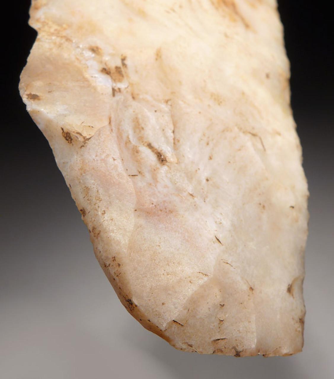 PC253 - MUSEUM-CLASS UNBROKEN AZTEC PRE-COLUMBIAN SACRIFICAL BIFACIAL DAGGER IN RARE WHITE FLINT