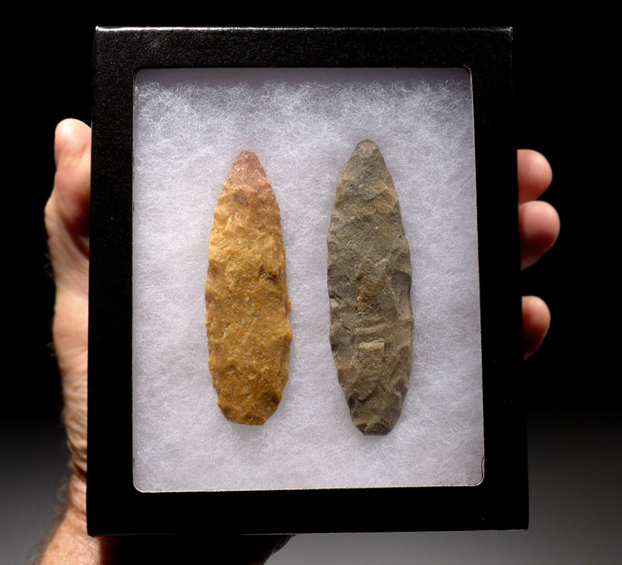 CAP198 - PAIR OF LARGE TENERIAN AFRICAN NEOLITHIC BIFACIAL SPEARHEADS FROM THE PEOPLE OF THE GREEN SAHARA