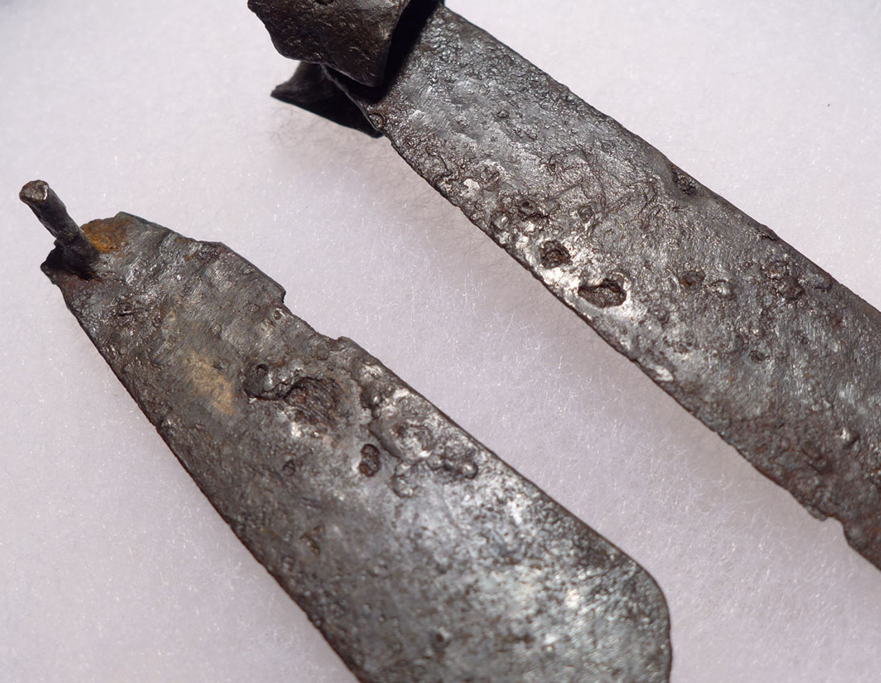 R127 - TWO ANCIENT ROMAN IRON FOLDING KNIFE BLADES