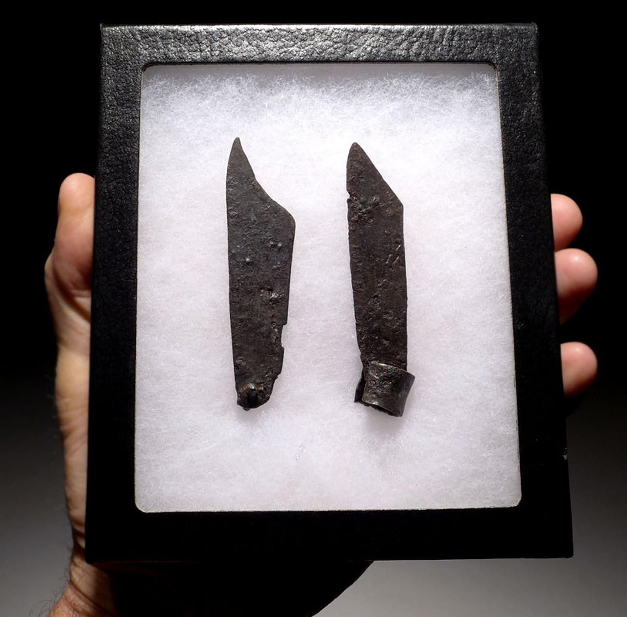 R127 - TWO ANCIENT ROMAN IRON FOLDING KNIFE BLADES