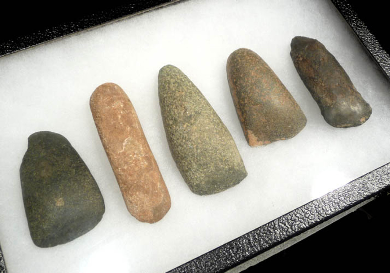 CAP124 - SET OF FIVE CAPSIAN AFRICAN NEOLITHIC STONE WAR AXES