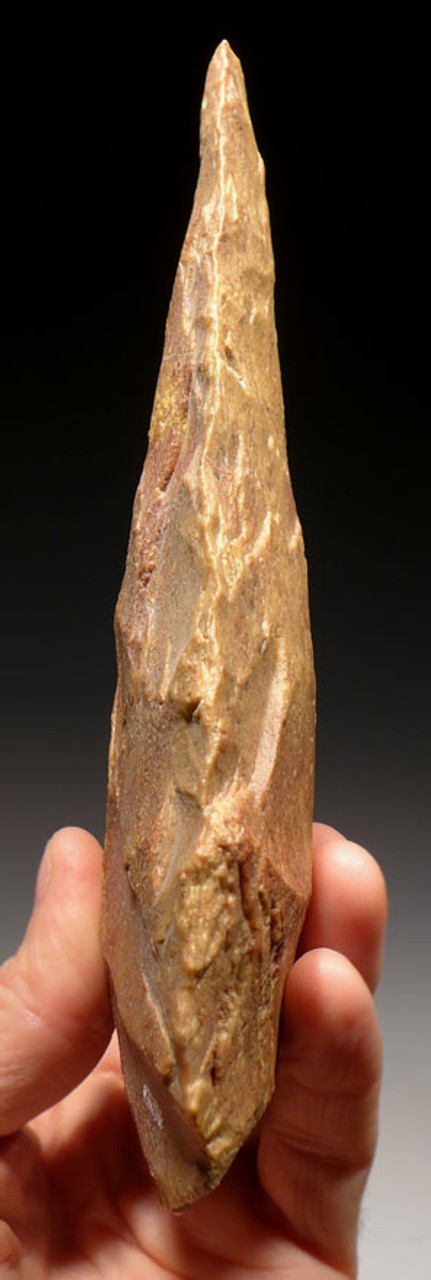 ACH246 - MUSEUM GRADE MASTERPIECE ACHEULIAN HAND AXE WITH SPECTACULAR COLOR AND FLAKING MADE BY HOMO ERECTUS (ERGASTER)
