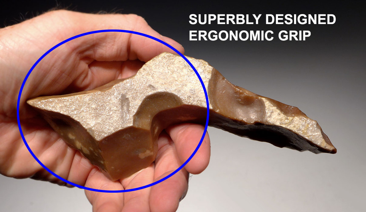 CAP201 - RARE MUSEUM CLASS AFRICAN NEOLITHIC LARGE FLINT PICK FROM THE CAPSIAN CULTURE WITH INGENIOUS DESIGN