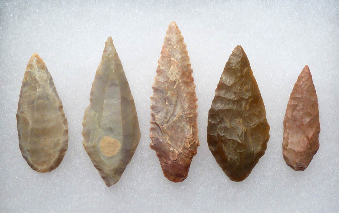 CAP172 - SET OF FIVE LARGE COLLECTOR GRADE CAPSIAN TRADITION AFRICAN NEOLITHIC ARROWHEADS