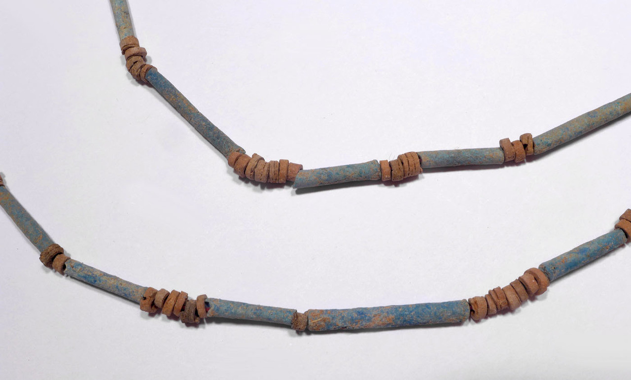 """NE159 - SUPERB 34"""" WEARABLE AUTHENTIC ANCIENT EGYPTIAN """"MUMMY BEAD"""" FAIENCE, STONE AND CLAY BEAD NECKLACE"""