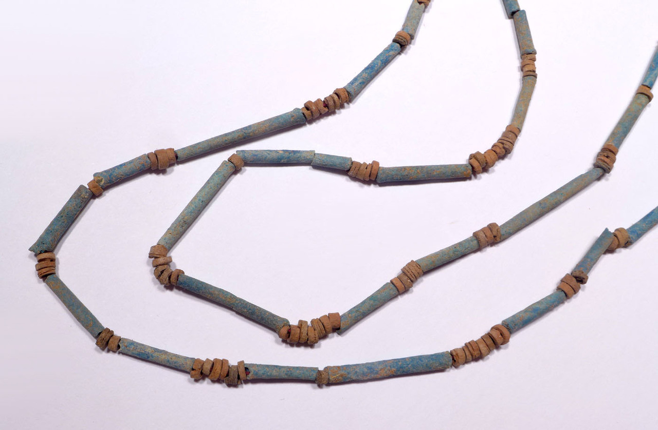 "NE159 - SUPERB 34"" WEARABLE AUTHENTIC ANCIENT EGYPTIAN ""MUMMY BEAD"" FAIENCE, STONE AND CLAY BEAD NECKLACE"