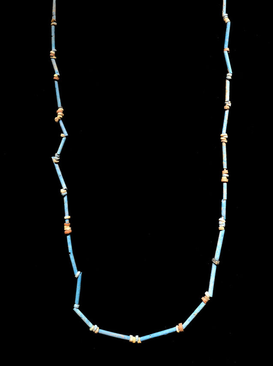 "NE156 - SUPERB 34"" WEARABLE AUTHENTIC ANCIENT EGYPTIAN ""MUMMY BEAD"" FAIENCE, STONE AND CLAY BEAD NECKLACE"
