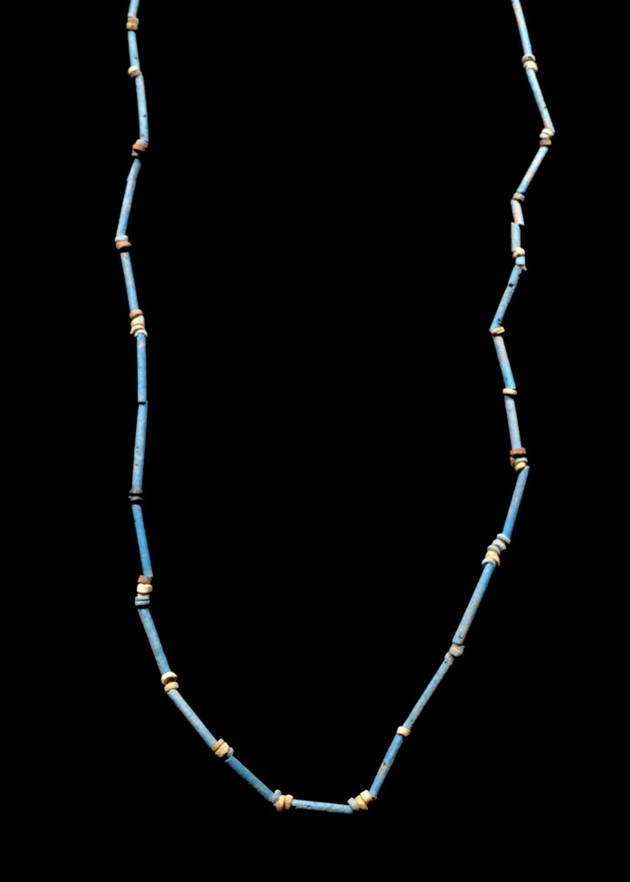 "NE163 - SUPERB 35"" WEARABLE AUTHENTIC ANCIENT EGYPTIAN ""MUMMY BEAD"" FAIENCE, STONE AND CLAY BEAD NECKLACE"