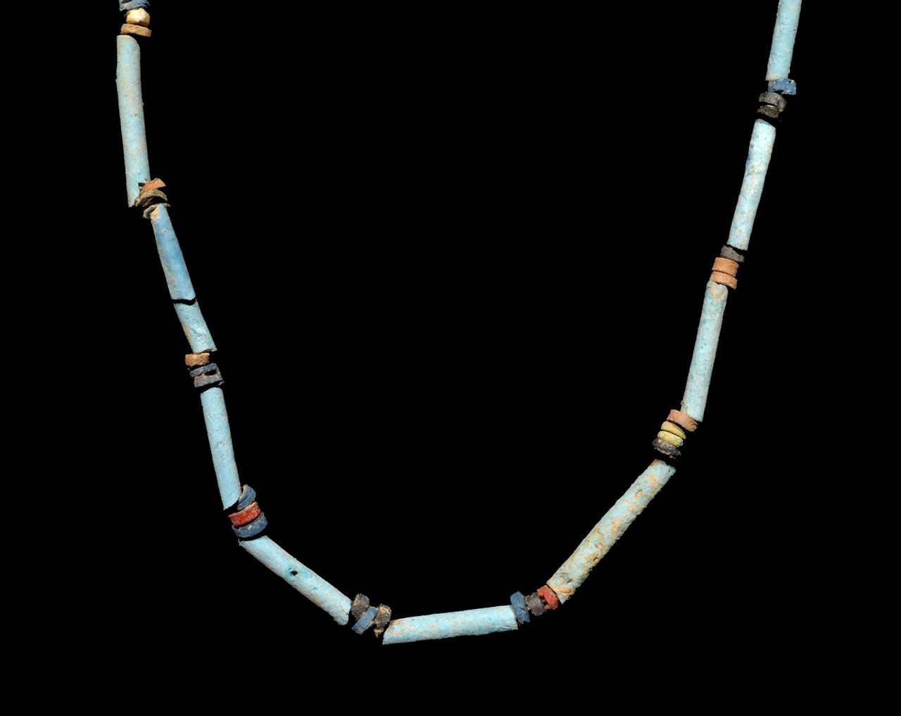 """NE161 - SUPERB 39"""" WEARABLE AUTHENTIC ANCIENT EGYPTIAN """"MUMMY BEAD"""" FAIENCE, STONE AND CLAY BEAD NECKLACE"""