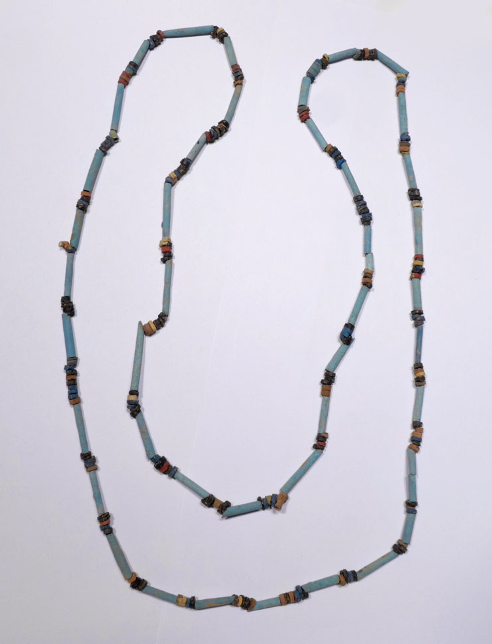 """NE160 - SUPERB 38"""" WEARABLE AUTHENTIC ANCIENT EGYPTIAN """"MUMMY BEAD"""" FAIENCE, STONE AND CLAY BEAD NECKLACE"""