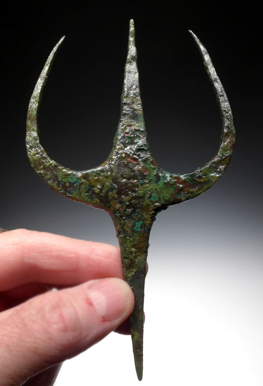 NE168 - ULTRA RARE ANCIENT BRONZE NEAR EASTERN LURISTAN TRIDENT SPEAR SET