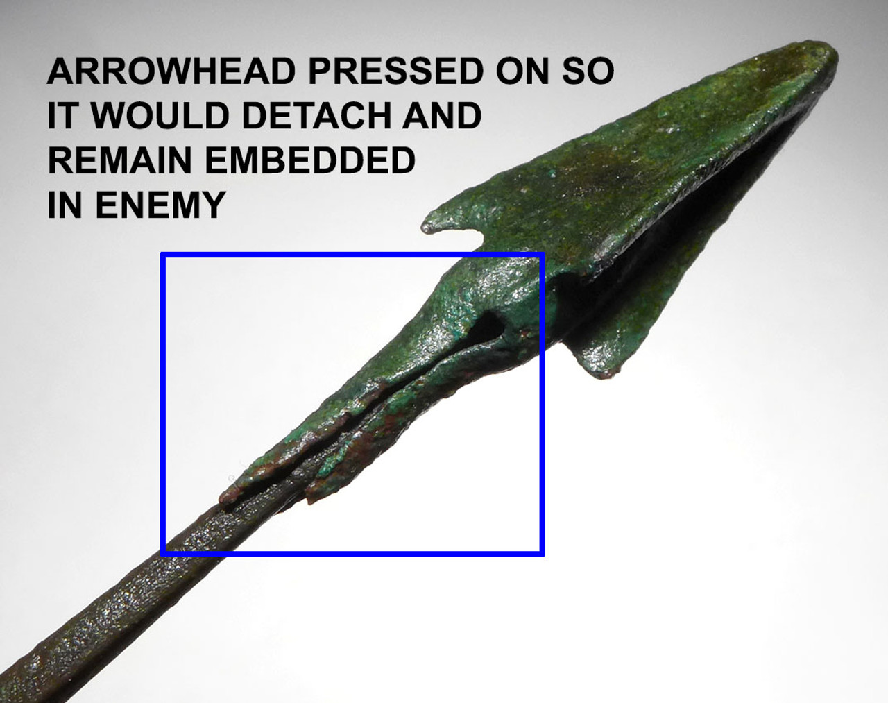 NE175 - ULTRA RARE FRAGMENTING ANCIENT BRONZE BARBED TRILOBATE ARROWHEAD FROM THE NEAR EASTERN BRONZE AGE