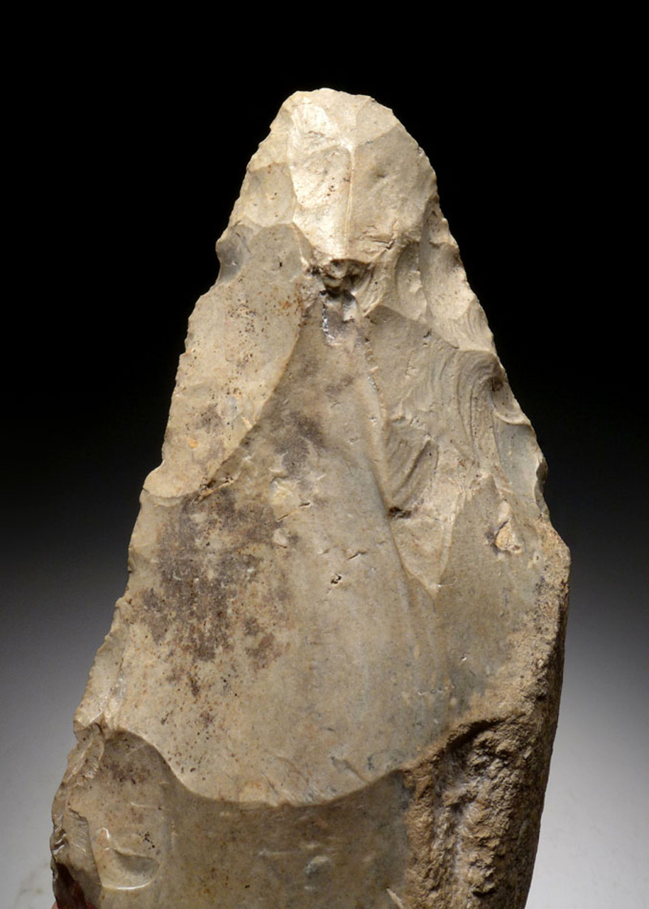 M380 - FINEST INVESTMENT GRADE MICOQUIEN NEANDERTHAL FLINT HAND AXE FROM FRANCE - OUR LARGEST AND FINEST EUROPEAN EXAMPLE EVER OFFERED