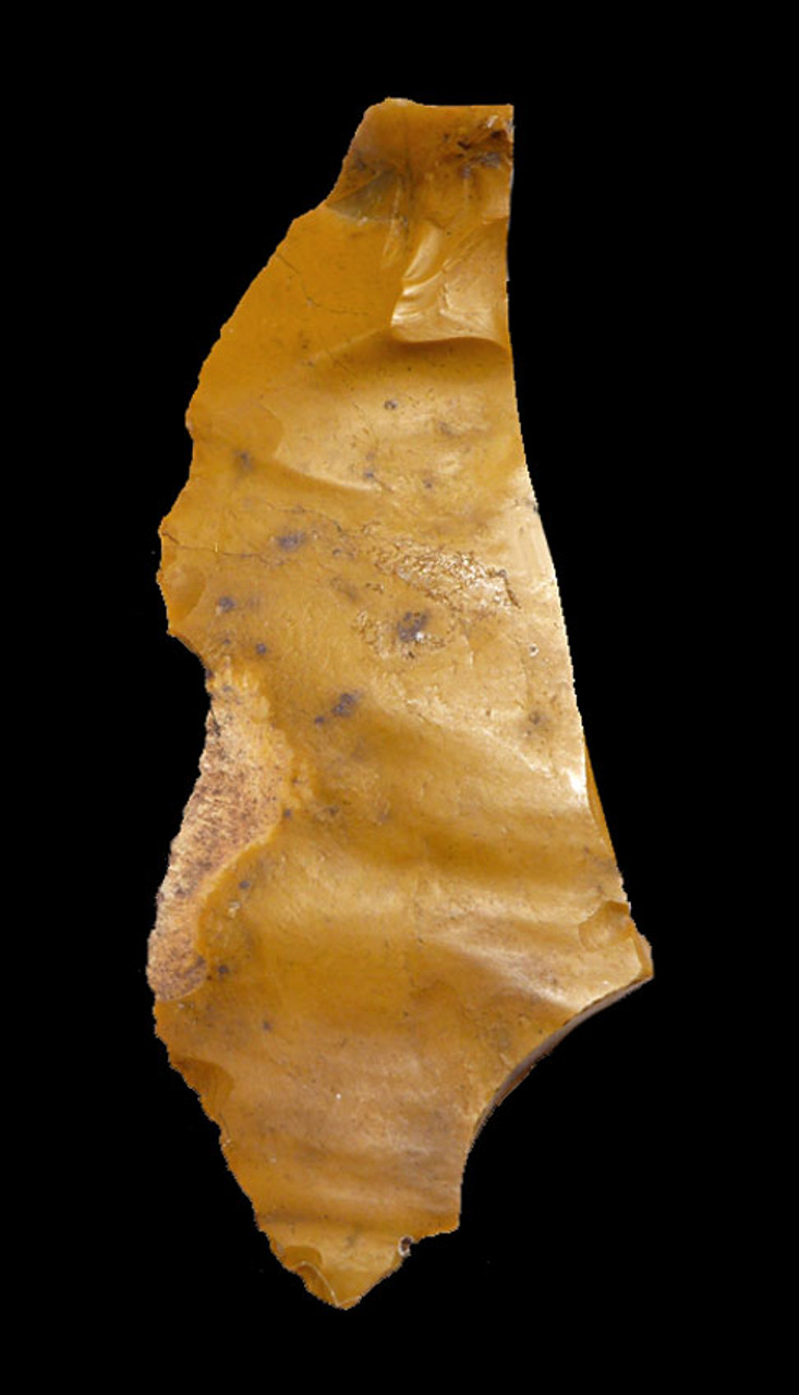 M395 - RARE GOLDEN JASPER NEANDERTHAL MOUSTERIAN BACKED KNIFE BLADE TOOL FROM FONTMAURE FRANCE