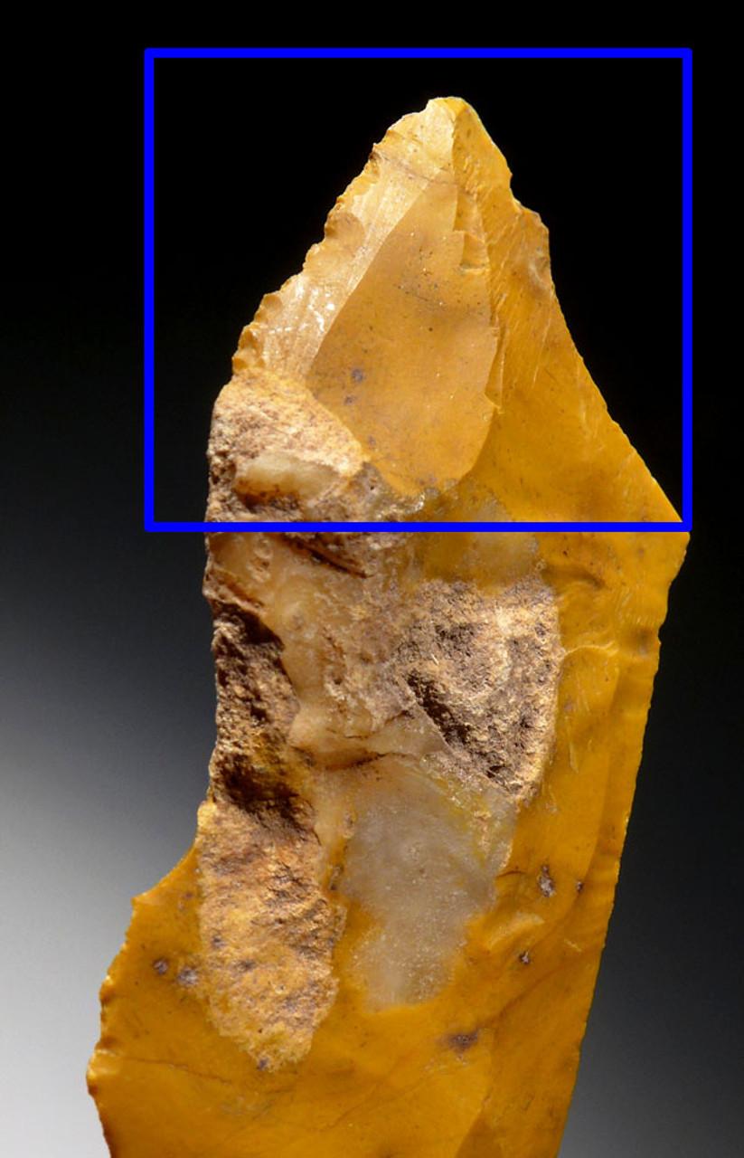 M395 - RARE GOLDEN JASPER NEANDERTHAL MOUSTERIAN BACKED KNIFE BLADE TOOL FROM FONTMAURE FRANCE