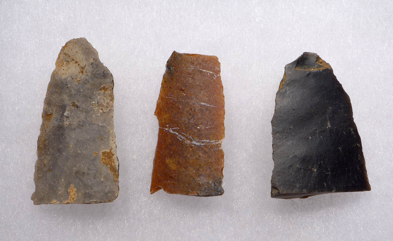 UP027 - RARE SET OF THREE UPPER PALEOLITHIC MAGDALENIAN BLADE TOOLS FROM FAMOUS FRENCH CAVE ART SITE