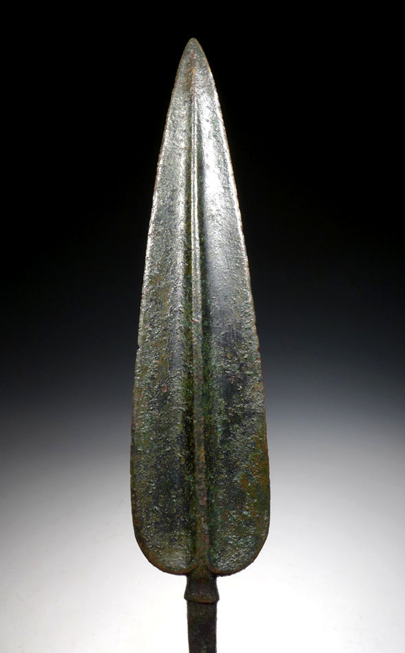 LUR099 - FINEST EXCEPTIONALLY LARGE ANCIENT BRONZE LURISTAN RAT TAIL SPEARHEAD WITH PROMINENT WILLOW LEAF SPEAR DESIGN