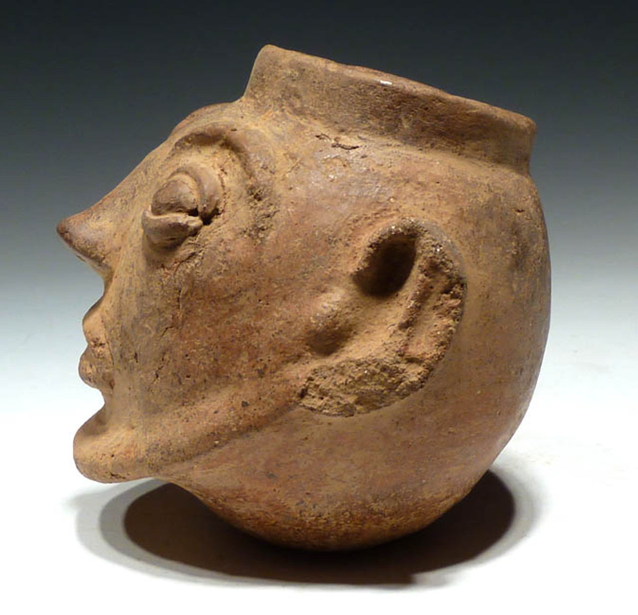 PC017 - PRE-COLUMBIAN HEAD-HUNTING TROPHY HEAD EFFIGY POT OF THE GREATER NICOYA CULTURE