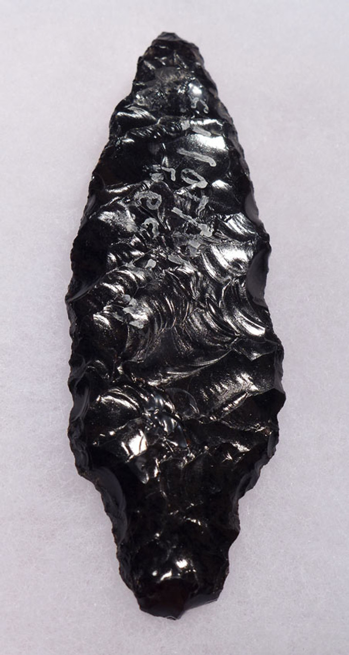 PC232 - LARGE MARBLED BROWN BLACK OBSIDIAN ATLATL HEAD PROJECTILE POINT FROM PRE-COLUMBIAN MEXICO HEFLIN COLLECTION