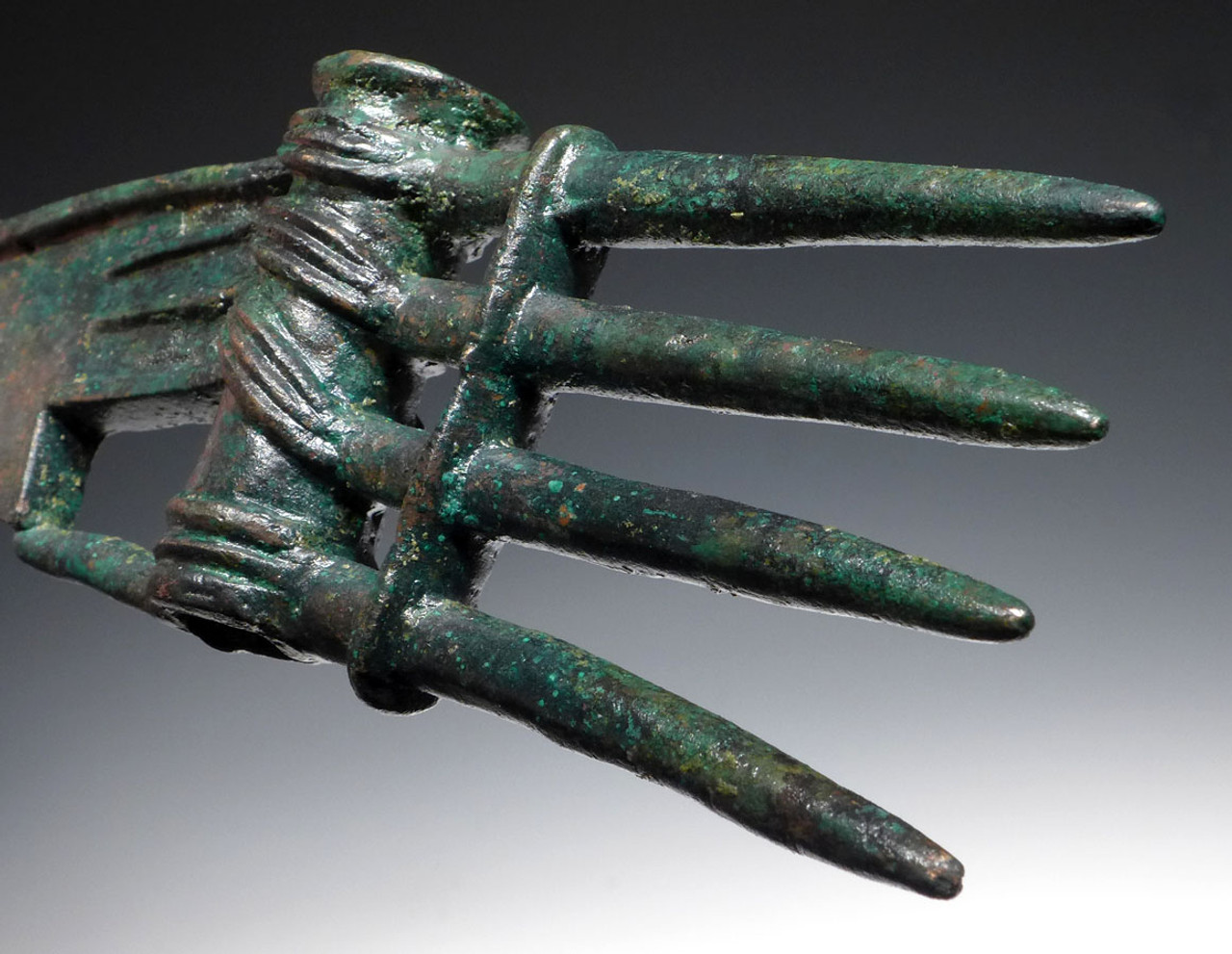 NEPC001  - RARE LARGE ANCIENT BRONZE DECORATED SPIKED WAR AXE FROM THE NEAR EASTERN LURISTAN CULTURE