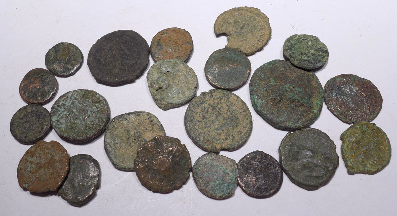 AC012 - 21 QUALITY ANCIENT BRONZE COINS OF ROMAN GREEK BYZANTINE BIBLICAL ISLAMIC CULTURES