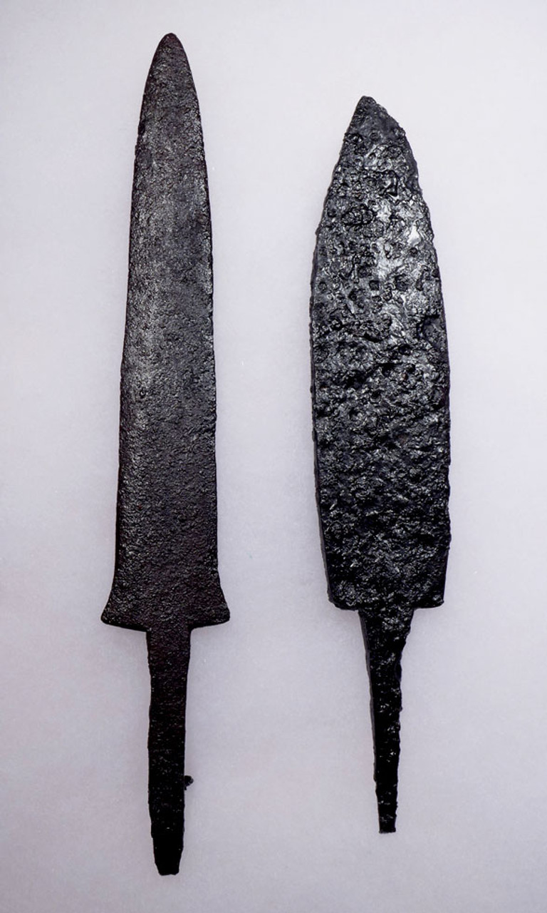 PAIR OF BYZANTINE ROMAN IRON INFANTRY FIGHTING KNIVES OF DIFFERENT DESIGN *R164