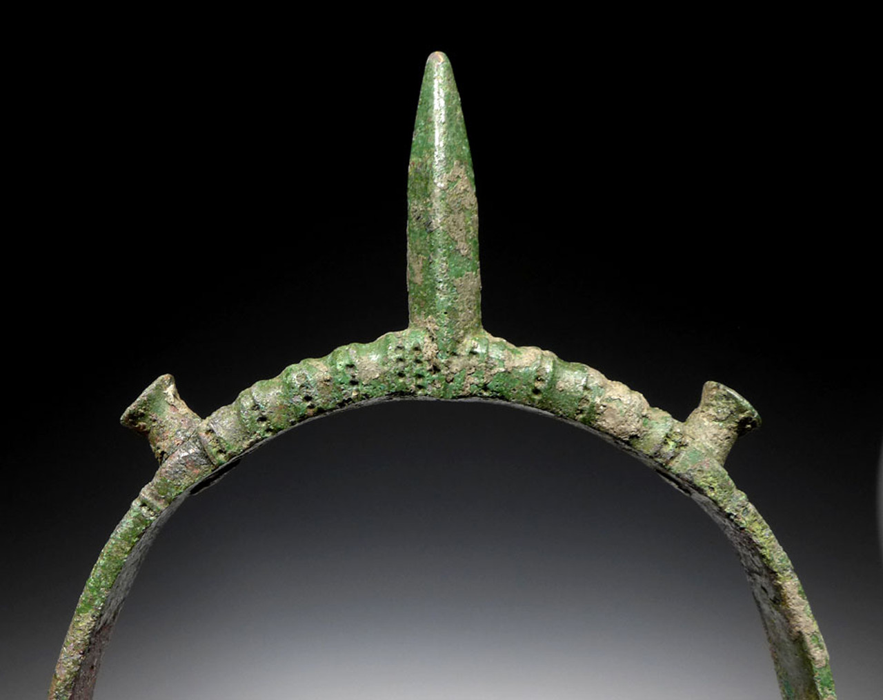 COMPLETE ANCIENT ROMAN DECORATED BRONZE PRICK SPUR FROM A MOUNTED CAVALRY WARRIOR OF STATUS *R152